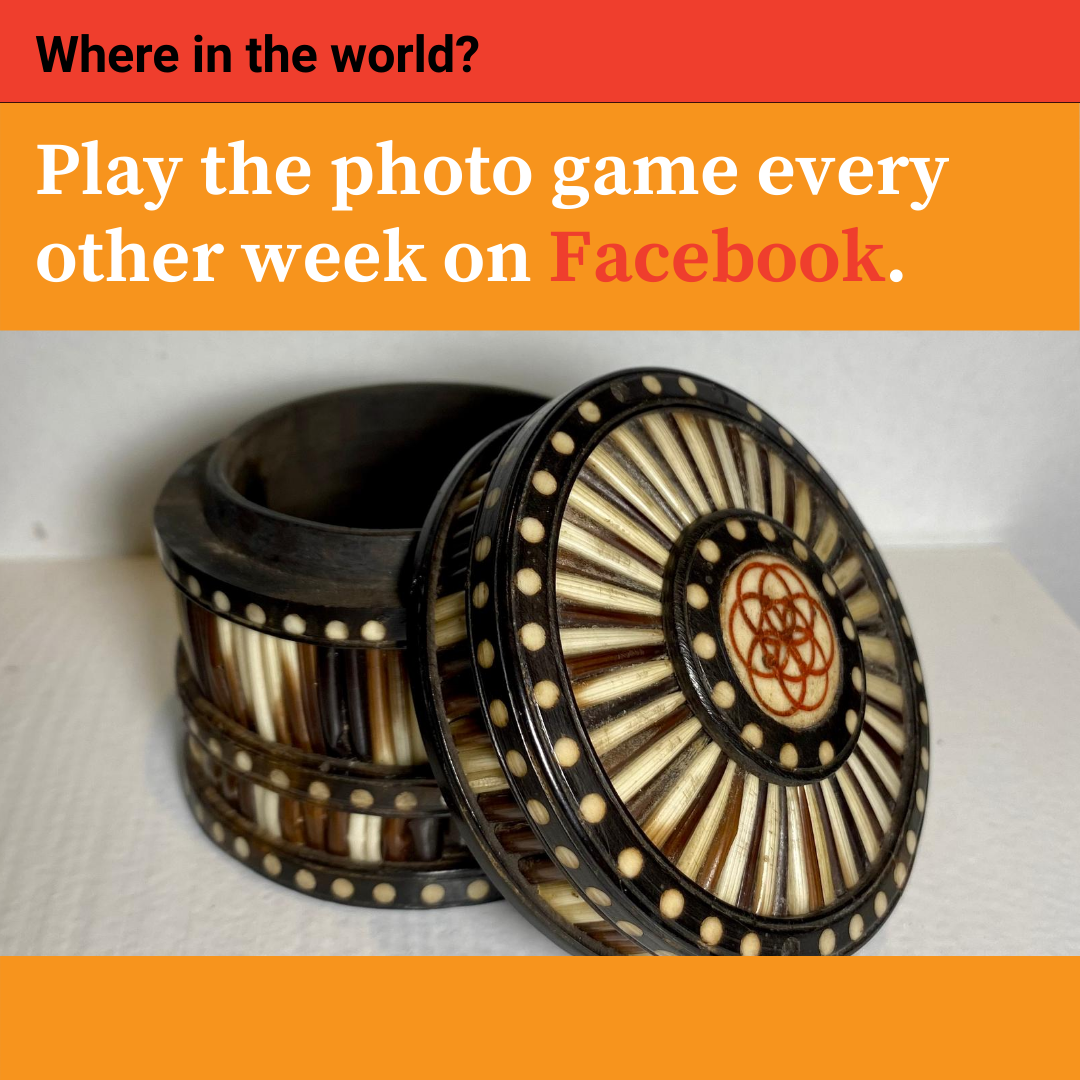 """Play the photo game """"Where in the World"""" every other week on Facebook. Click here to go to Facebook."""
